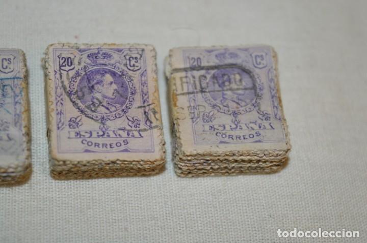 Sellos: Oportunidad 1000 Sellos - ALFONSO XIII - Tipo MEDALLÓN - 20 Cts, Reverso numerados, en pastillas 100 - Foto 8 - 176814012