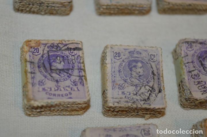 Sellos: Oportunidad 1000 Sellos - ALFONSO XIII - Tipo MEDALLÓN - 20 Cts, Reverso numerados, en pastillas 100 - Foto 9 - 176814012