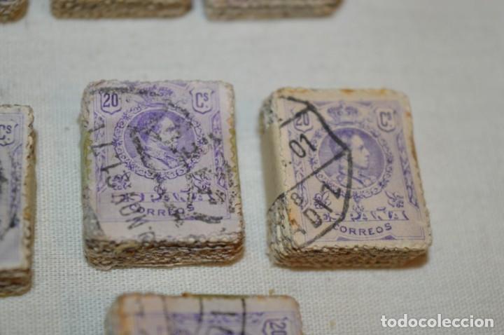 Sellos: Oportunidad 1000 Sellos - ALFONSO XIII - Tipo MEDALLÓN - 20 Cts, Reverso numerados, en pastillas 100 - Foto 10 - 176814012