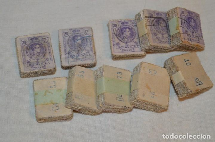 OPORTUNIDAD 1000 SELLOS - ALFONSO XIII - TIPO MEDALLÓN - 20 CTS, REVERSO NUMERADOS, EN PASTILLAS 100 (Sellos - España - Alfonso XIII de 1.886 a 1.931 - Usados)
