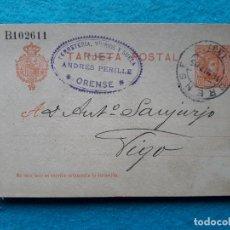 Sellos: ENTERO POSTAL ALFONSO XIII. 10 CÉNTIMOS. CIRCULADO: ORENSE - VIGO. 18 DE MARZO DE 1905.. Lote 177198705