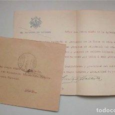 Sellos: SOBRE CON SELLO DE ALFONSO XIII FECHADO EN 1924 Y CARTA DE LA ALCALDÍA DE LINARES (JAÉN). Lote 177275692