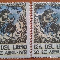 Sellos: 1951 DIA DEL LIBRO - 2 VIÑETAS. Lote 177312718