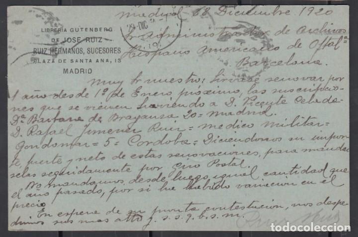 Sellos: TARJETA COMERCIAL, Librerias GUTEMBERG de JOSE RUIZ, MADRID, , ALFONSO XIII - Foto 2 - 177421780