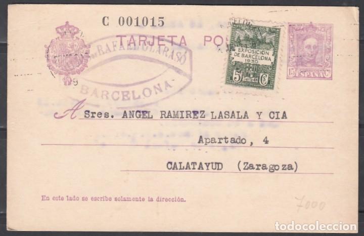 TARJETA POSTAL, CIRCULADA CON SELLO COMPLEMENTARIO DEL AYUNTAMIENTO DE BARCELONA. ALFONSO XIII. (Sellos - España - Alfonso XIII de 1.886 a 1.931 - Cartas)