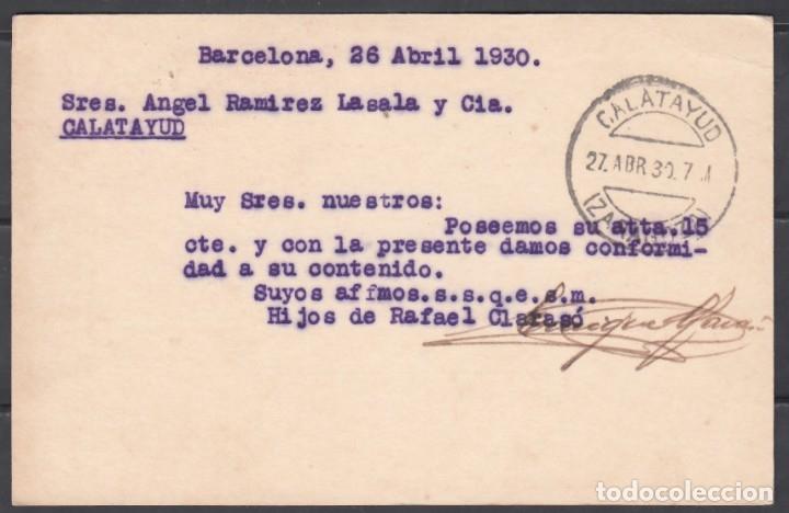 Sellos: TARJETA POSTAL, Circulada con sello complementario del Ayuntamiento de Barcelona. ALFONSO XIII. - Foto 2 - 177422053