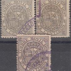 Sellos: FISCALES POSTALES, EDIFIL N/C. 5 C DE 1897 (2 SELLOS) Y 25 C DE 1897 (1 SELLO). CALIDAD DIVERSA. Lote 177674438