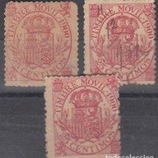 Sellos: FISCALES POSTALES, EDIFIL N/C. 5 C DE 1900(1) 25 C. 1900(2). VARIAS INUTILIZACIONES. CALIDAD DIVERSA. Lote 177675303