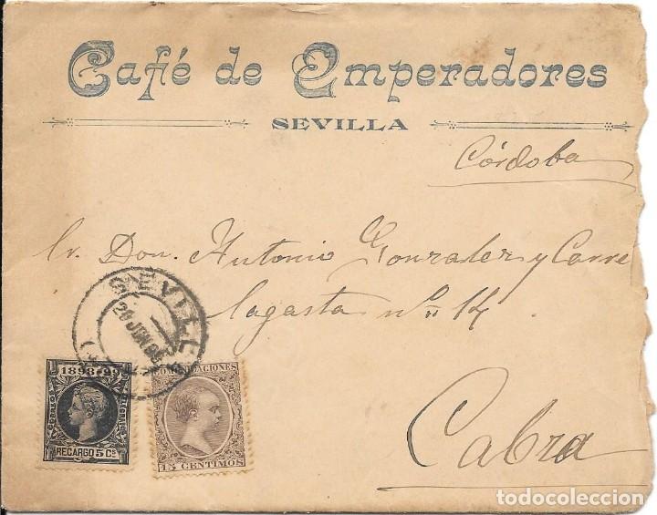 ANDALUCIA. SEVILLA. EDIFIL 219-240.SOBRE PUBLICITARIO CIRCULAD0 DE SEVILLA A CABRA. 1899 (Sellos - España - Alfonso XIII de 1.886 a 1.931 - Cartas)