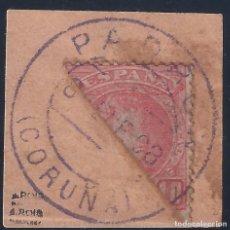 Sellos: EDIFIL 243 ALFONSO XIII. TIPO CADETE (VARIEDAD...SELLO BISECTADO) PADRÓN 08-ENERO-1908. LUJO. . Lote 177755404