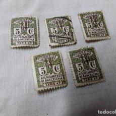 Sellos: 5 SELLOS DE BARCELONA DE 5 CÉNTIMOS SERIE 4,NUMERADOS POR DETRÁS . Lote 178155598