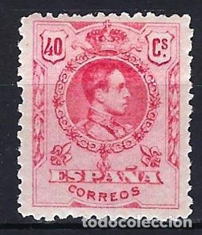ESPAÑA 1909-1922 - 40 CENTIMOS - ALFONSO XIII TIPO MEDALLÓN - EDIFIL 276 - MH* NUEVO CON FIJASELLOS (Sellos - España - Alfonso XIII de 1.886 a 1.931 - Nuevos)
