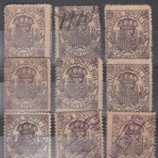 Sellos: FISCALES POSTALES, EDIFIL 20. 10 C DE 1901. 11 EJEMPLARES VARIAS INUTILIZACIONES. CALIDAD DIVERSA. Lote 178220420
