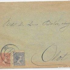 Sellos: PELON. EDIFIL 215 - 217. SOBRE DE GERONA A OLOT 1899 . Lote 178328862