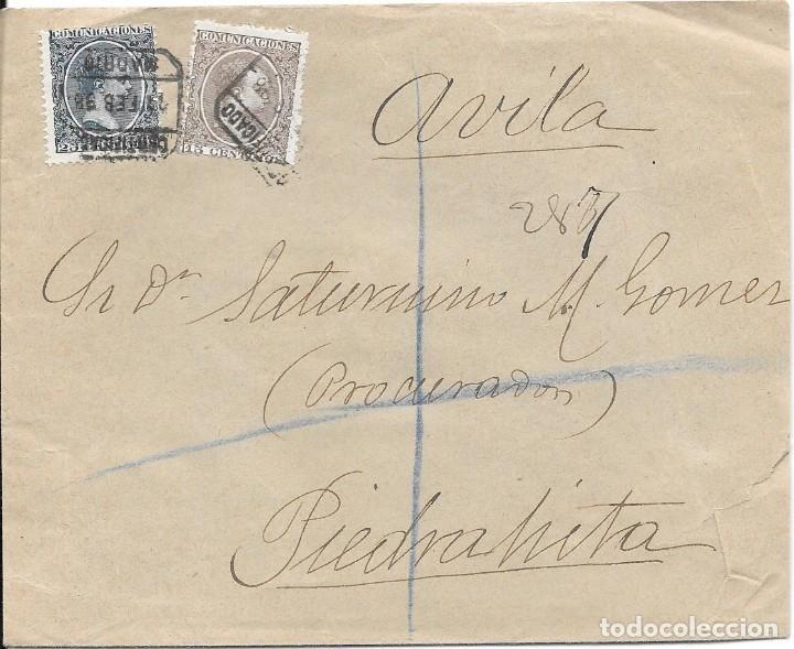 PELON. EDIFIL 219 - 221. CERTIFICADO DE MADRID A PIEDRAHITA - AVILA 1898 (Sellos - España - Alfonso XIII de 1.886 a 1.931 - Cartas)