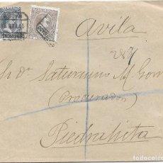 Sellos: PELON. EDIFIL 219 - 221. CERTIFICADO DE MADRID A PIEDRAHITA - AVILA 1898. Lote 178330441