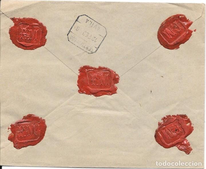 Sellos: PELON. EDIFIL 219 - 221. CERTIFICADO DE MADRID A PIEDRAHITA - AVILA 1898 - Foto 2 - 178330441