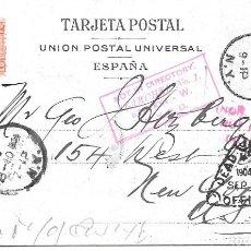 Sellos: CADETE. EDIFIL 243. POSTAL DE CADIZ A NUEVA YORK - EEUU. Lote 178332458