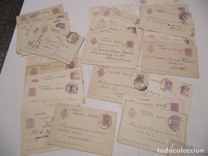 ST- HISTORIA POSTAL ALAVA - VITORIA GRAN LOTE 42 ENTEROS POSTALES ANTIGUOS VER 5 IMÁGENES (Sellos - España - Alfonso XIII de 1.886 a 1.931 - Cartas)
