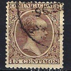 Sellos: ESPAÑA - 1889-1899 - ALFONSO XIII 'PELÓN' - 15 CENTIMOS - EDIFIL 219 - USADO. Lote 179381347