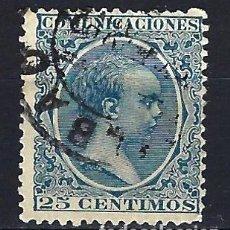 Sellos: ESPAÑA - 1889-1899 - ALFONSO XIII 'PELÓN' - 25 CENTIMOS - EDIFIL 221 - USADO. Lote 179381817