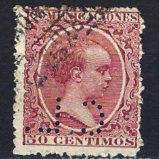 Sellos: ESPAÑA - 1889-1899 - ALFONSO XIII 'PELÓN' - 50 CENTIMOS - EDIFIL 224 - USADO Y PERFORADO C.L.. Lote 179382842