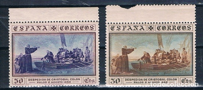 ESPAÑA 1930 COLON EDIFIL 540 Y 542 MNH**BORDE HOJA GOMA ORIGINAL P.CAT47€ (Sellos - España - Alfonso XIII de 1.886 a 1.931 - Nuevos)