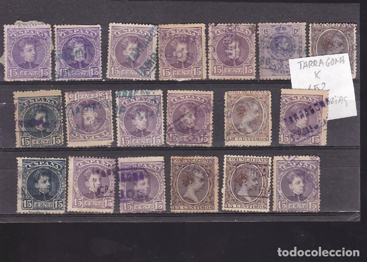 Sellos: ST- Alfonso XIII . Lote de 152 sellos Matasellos CARTERIA TARRAGONA. Ver 8 Imágenes - Foto 8 - 180134198