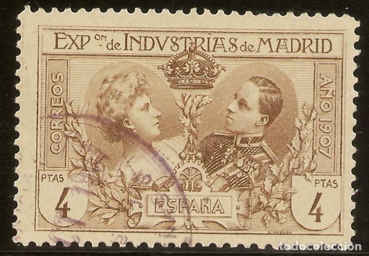 ESPAÑA EDIFIL SR6 4 PESETAS CASTAÑO EXPOSICIÓN INDUSTRIAS 1907 NL1436 (Sellos - España - Alfonso XIII de 1.886 a 1.931 - Usados)