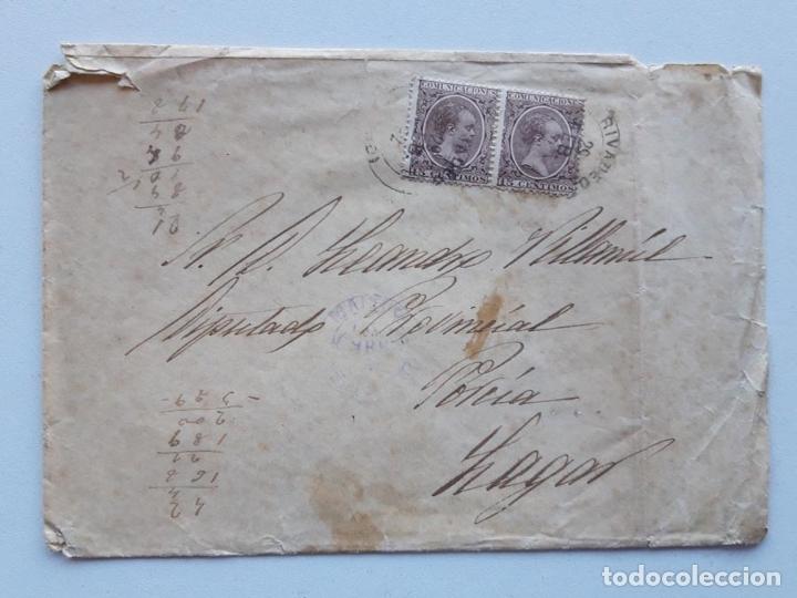 EDIFIL 219 X 2 EN SOBRE LAGAR (Sellos - España - Alfonso XIII de 1.886 a 1.931 - Cartas)