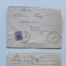 Sellos: 1916 EDIFIL 270 EN SOBRE PETREL VILLAJOYOSA CON CARTA. Lote 180293186