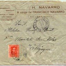 Sellos: 1927 CARTA CON SOBRE Y SELLO VILLENA VILLAJOYOSA. Lote 180293240