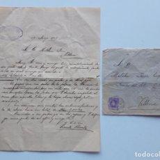 Sellos: 1909 EDIFIL 246 EN CARTA ONTENIENTE VILLENA. Lote 180293250