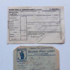 Sellos: 1925 RECIBO CON SOBRE Y SELLO VILLAJOJOSA VILLENA. Lote 180293265