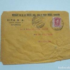Sellos: 1928 SOBRE Y 2 SELLO VALENCIA VILLAJOYOSA. Lote 180293270
