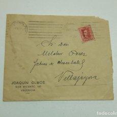 Sellos: 1927 SOBRE Y 2 SELLO VALENCIA VILLAJOYOSA. Lote 180293295