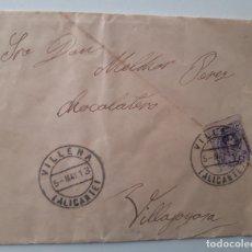 Sellos: 1913 CARTA CON SOBRE Y SELLO EDIFIL 270 VILLENA VILLAJOYOSA. Lote 180293305