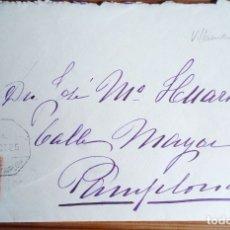 Sellos: AMBULANTE FERROCARRIL VILLANUEVA ARAQUIL ALSASUA PAMPLONA NAVARRA 1925 ALFONSO XIII. Lote 180458468