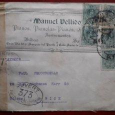 Sellos: CARTA CIRCULADA 1916 DE BILBAO A NIZA (FRANCIA): CENSURA MILITAR PRIMERA GUERRA MUNDIAL.. Lote 180479007