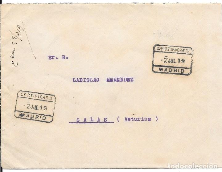 FRAUDE AL CORREO. CERTIFICADO CIRCULADO DE BARCELONA A SALAS SIN FRANQUEO 1919 (Sellos - España - Alfonso XIII de 1.886 a 1.931 - Cartas)