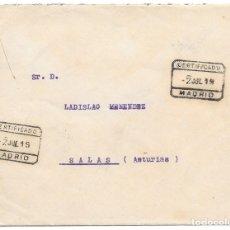 Sellos: FRAUDE AL CORREO. CERTIFICADO CIRCULADO DE BARCELONA A SALAS SIN FRANQUEO 1919. Lote 181073626