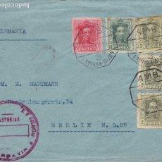 Sellos: BONITA CARTA CON MATASELLO AMBULANTE 3 LAVIANA - GIJON SEP 1926 - GARVALIN. Lote 181398071