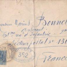 Sellos: RARA CARTA CON CENSURA DE BARCELONA AL SECTOR POSTAL Nº 130 ¿FRENTE?. PRIMERA GUERRA MUNDIAL 1916?. Lote 181762785