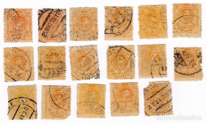 LOTE 17 SELLOS. ESPAÑA. ALFONSO XIII, 1909-1922. 15 CÉNTIMOS (Sellos - España - Alfonso XIII de 1.886 a 1.931 - Usados)