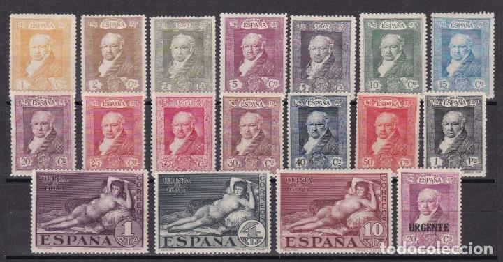 1930. QUINTA DE GOYA SERIE COMPLETA NUEVA CON FIJASELLOS EDIFIL Nº 499/516 (Sellos - España - Alfonso XIII de 1.886 a 1.931 - Nuevos)