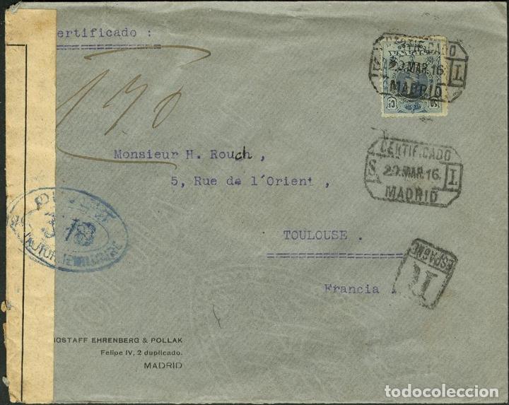 ESPAÑA. ALFONSO XIII CORREO CERTIFICADO. SOBRE 277. 1916. 50 CTS. MADRID A FRANCIA. MATASELLO CERTI (Sellos - España - Alfonso XIII de 1.886 a 1.931 - Cartas)