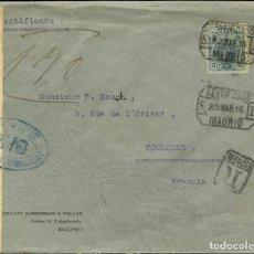 Sellos: ESPAÑA. ALFONSO XIII CORREO CERTIFICADO. SOBRE 277. 1916. 50 CTS. MADRID A FRANCIA. MATASELLO CERTI. Lote 183101481