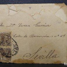 Sellos: CARTA DE SEVILLA CON 2 SELLOS DE 15 CTS. DE ALFONSO XIII AÑO 1894. Lote 183498360