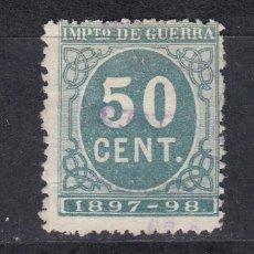 Sellos: IMPUESTO DE GUERRA SELLO DE 50 CTS USADO. AÑO 1897 (1019). Lote 183513628