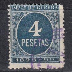 Sellos: IMPUESTO DE GUERRA SELLO DE 4 PESETAS USADO. AÑO 1898 (1019). Lote 183519633